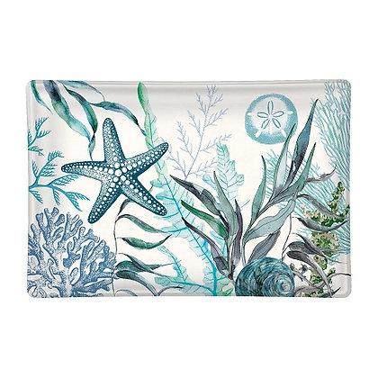 Michel Designs Glass Soap Dish - Ocean Tide