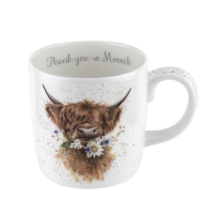 Royal Worcester Wrendale 'Thank You' Cow Large Fine Bone China Mug