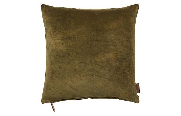 Feather Filled Velvet Cushion-Mustard