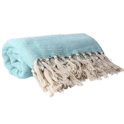 Gisela Graham Aqua Woven Cotton Throw