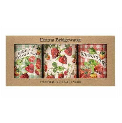 """Elite Tins Emma Bridgewater """"Strawberries"""" Three Storage Caddies"""