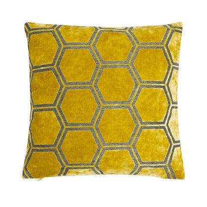 Malini Ivor Feather Cushion - Mustard
