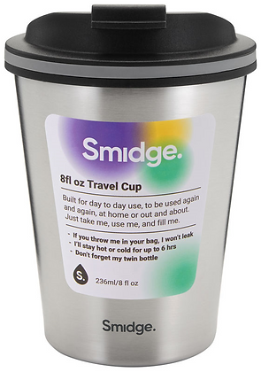 Smidge 236ml Insulated Travel Cup-Stainless Steel