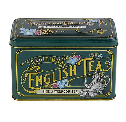 New English Vintage Victorian Bottle Green 40 Tea Bag Caddy