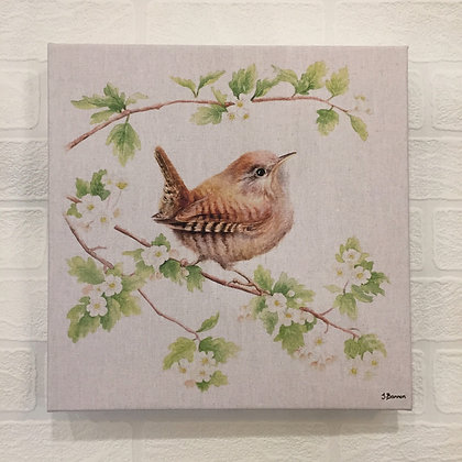 Canvas Art - Wren on Branch