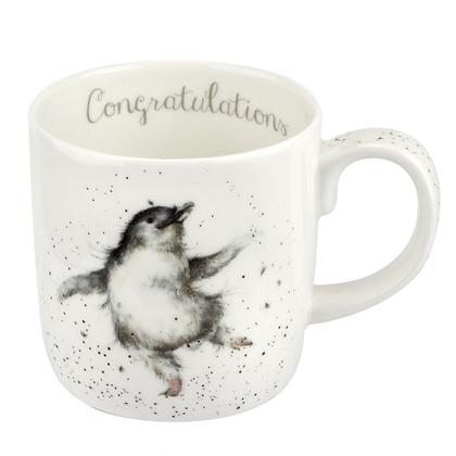 Royal Worcester Wrendale 'Congratulations' Penguin Large Fine Bone China Mug