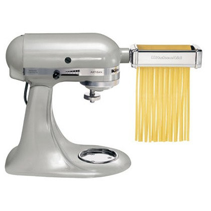 KitchenAid 3-piece Pasta Roller and Cutter Set show attached to a Kitchen Artisan stand mixer