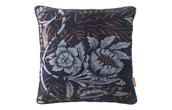 Feather Filled Sumptuous Flowers Velvet Cushion-Royal Blue