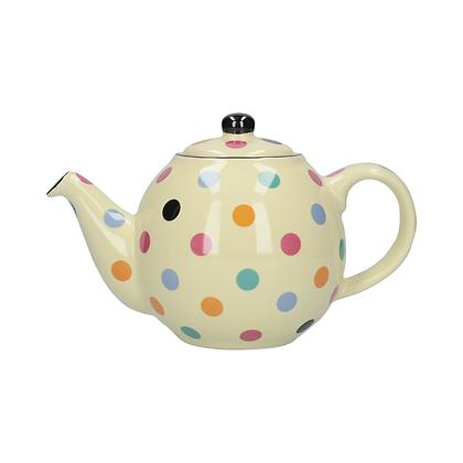 London Pottery 6 Cup Globe Teapot - Ivory Spot
