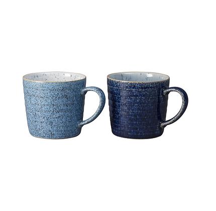 Denby Studio Blue Ridged Mug - Set of 2