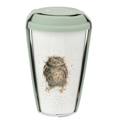 Royal Worcester Wrendale Designs Owl Travel Mug with Silicone Lid