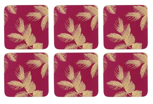 Portmerion Sara Miller Etched Leaves Coasters - Pink
