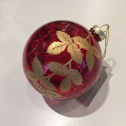 Gisela Graham Decoration - Clear Red Ball with Gold Leaves