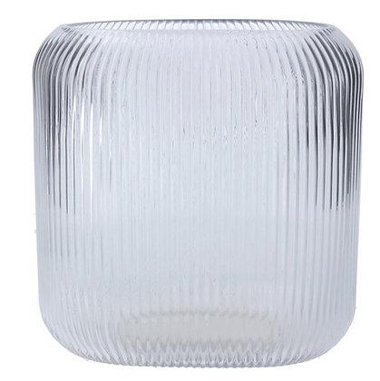 Gisela Graham Clear Ribbed Glass Vase