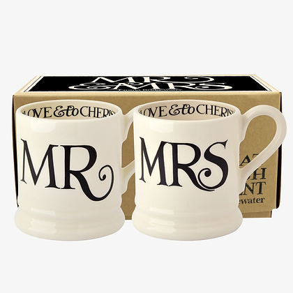 Emma Bridgewater 'Mr and Mrs' Set of 2 1/2pt Mugs