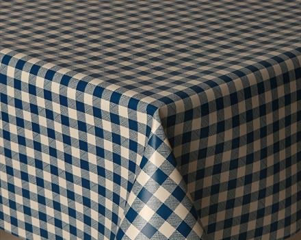 Prestons Mirha Collection Round Tablecloth - Navy Blue Gingham