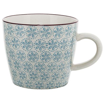 Bloomingville Patrizia Mug - Blue Flowers