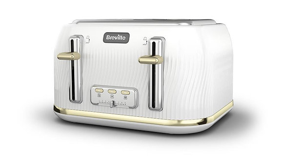 Breville Flow 4 Slice Toaster - White and Gold