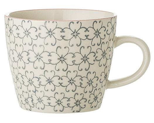 Bloomingville Cecile Mug - Grey Flowers