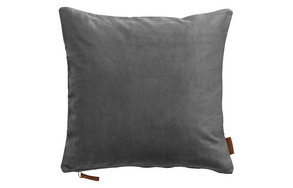 Feather Filled Velvet Cushion-Cool Grey