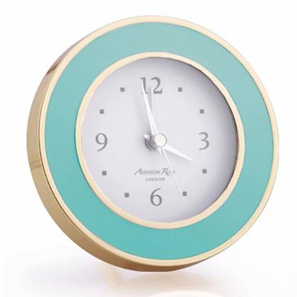 Addison Ross Turquoise Enamel Gold Plate Alarm Clock