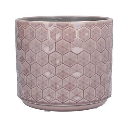 Gisela Graham Dusky Mauve Honeycomb Medium Pot Cover