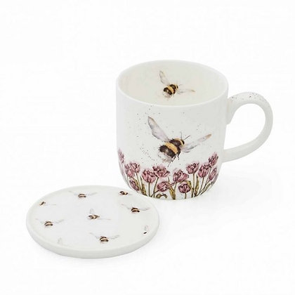Royal Worcester Wrendale 'Flight of the Bumblebee' Mug and Coaster Set