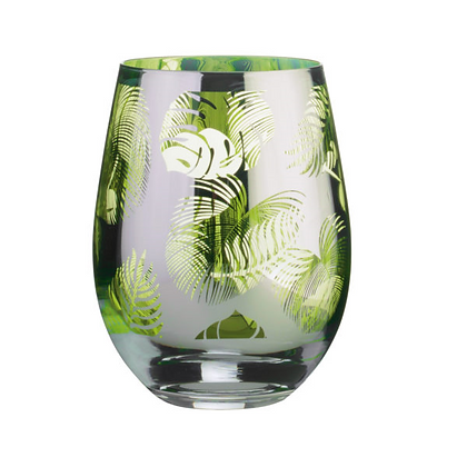 Tropical Leaves Stemless Wine/Gin Glass