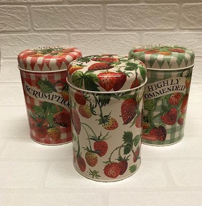 """Elite Tins Emma Bridgewater """"Strawberries""""Three Storage Caddies"""