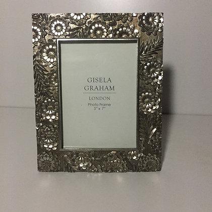 Gisela Graham Pewter Floral Frame 5 x 7