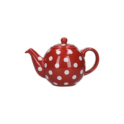 London Pottery 2 Cup Globe Teapot - Red Spot