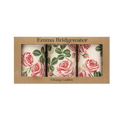 "Elite Tins Emma Bridgewater ""Pink Roses"" Three Storage Caddies"