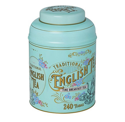 New English Mint Green Vintage Victorian Tea Caddy  240 Bags