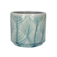 Gisela Graham Large Pot Cover - Blue Leaves
