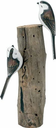 Archipelago Long Tailed Tit Pair Wooden Sculpture
