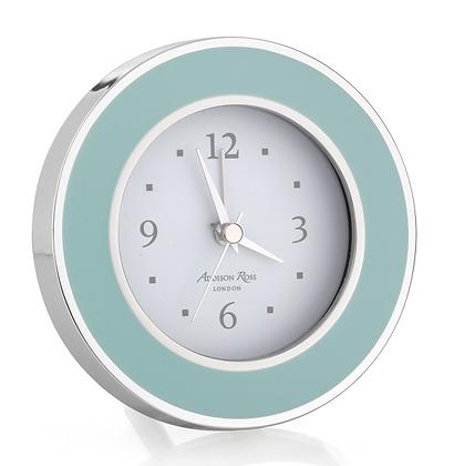 Addison Ross Light Blue Enamel & Silver Plate Alarm Clock