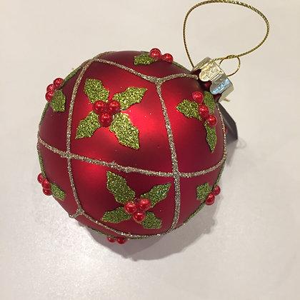 Gisela Graham Decoration - Matt Red Ball with Holly