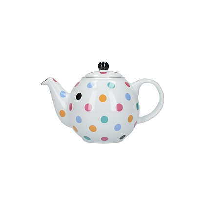 London Pottery 2 Cup Globe Teapot - White Spot