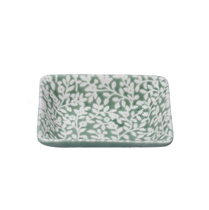 Gisela Graham Green Floral Vines Mini Soap Dish