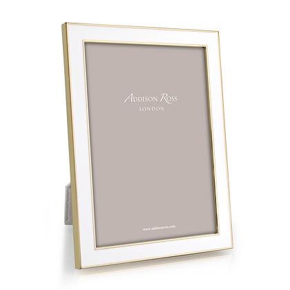 Addison Ross 5x7 Photo Frame - White Enamel & Gold Plate