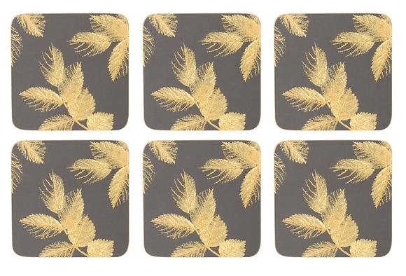Portmerion Sara Miller Etched Leaves Coasters - Dark Grey