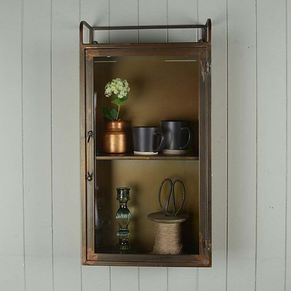 Grand Illusions Antique Brass Wall Cabinet with Glass Door