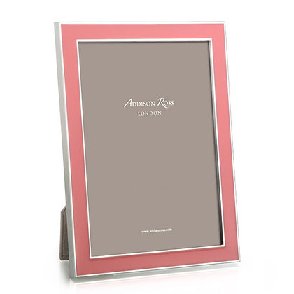 Addison Ross 5x7 Photo Frame - Coral Pink and Silver