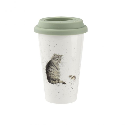 Royal Worcester Wrendale Designs Cat and Mouse Travel Mug with Silicone Lid