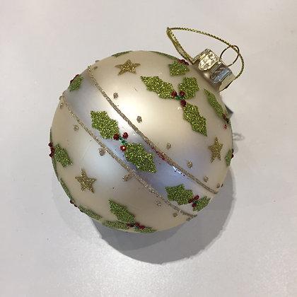 Gisela Graham Decoration - Matt Gold Ball with Holly