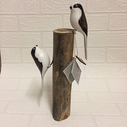 Archipelago Long Tailed Tits Wooden Sculpture