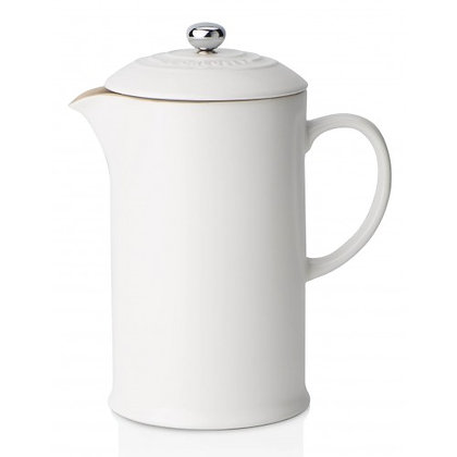 Le Creuset Stoneware Coffee Pot with Metal Press - Cotton