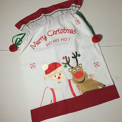 Peggy Wilkins Santa And Rudolph Gift Sack