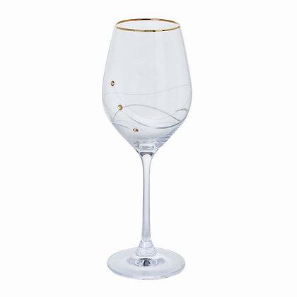 Dartington Crystal, Glitz Gold White Wine Glass. Giftboxed Single.