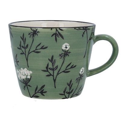 Gisela Graham Green Cow Parsley Mug